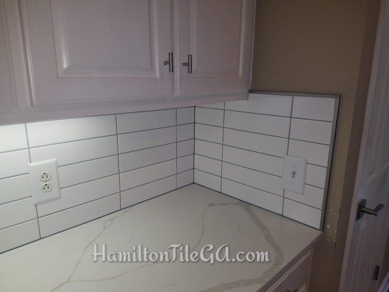 Hamilton Tile has you feeling secure by covering your counter tops, covering your floors and doing a thorough clean up. Not to mention going above and beyond, installing you a one of a kind back splash in your home.