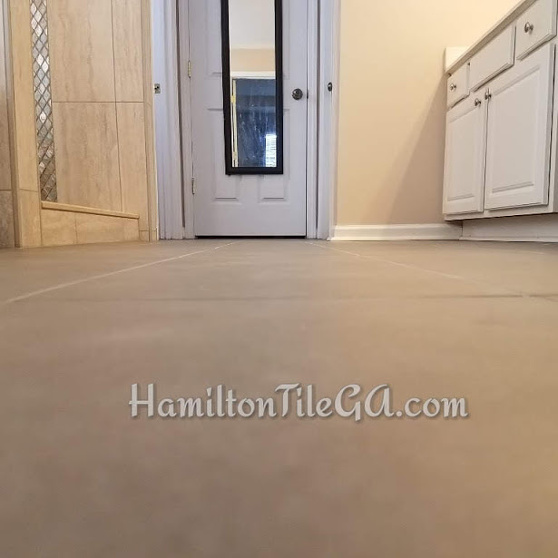 Originally, this floor had 12x12 porcelain tile…rounded edges. They upgraded to this large format, rectified edge tile. The difference in daily use is going to be astronomical. This is why we remodel, and why you want a new bathroom.
