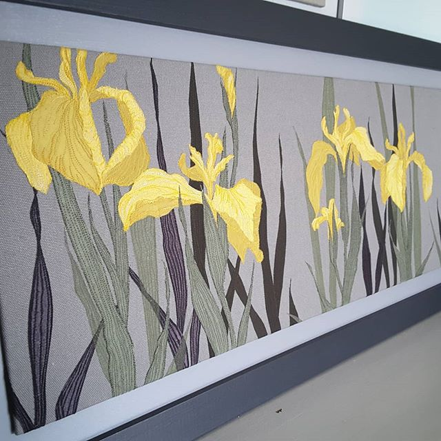 Yellow flag iris. Framed, ready for exhibition at Gallery 45, Felton. #textileartexhibition #flowergarden #yellowflag #springcolours