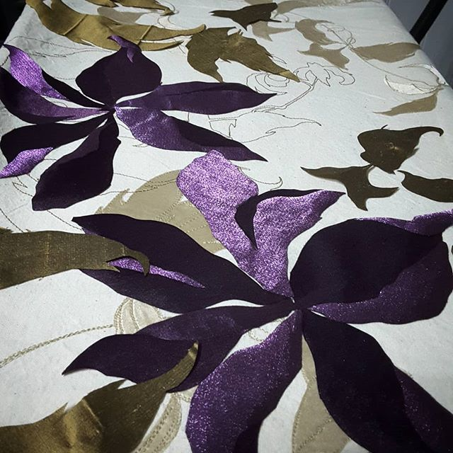 The next stage. Building up the layers. #paintingwithfabric #sewingmachineart #commissionedartwork #purple