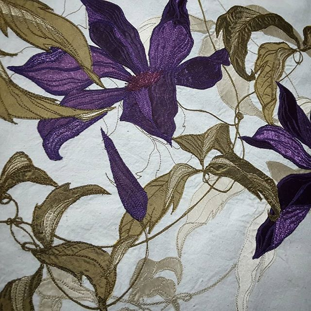 Detail from my latest completed commission. #stitchedart #beautifulpurple #textileartcommission #paintingwithfabric