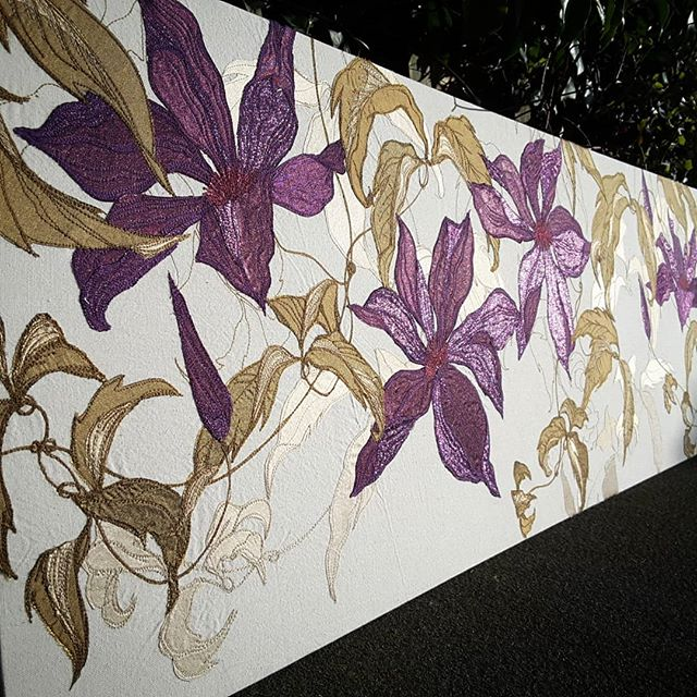 Finished #catchingtheeveningsun #purpleandgold #commission #clematis