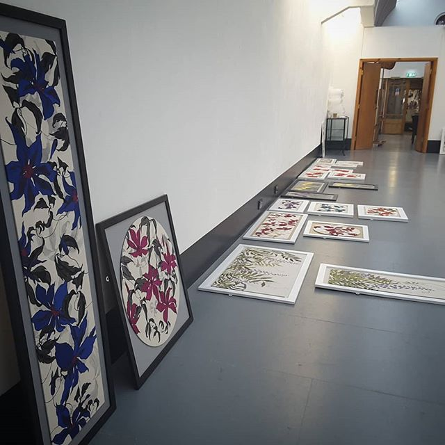 Decisions Decisions!! How and where to hang? Having fun preparing for new exhibition at Newcastle Art Centre. #artexhibition #newcastleartcentre #textileart #openingsoon #botanicalart