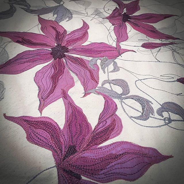 Update on the latest work in progress. #textileartcommission #fabricart #clematisflowers