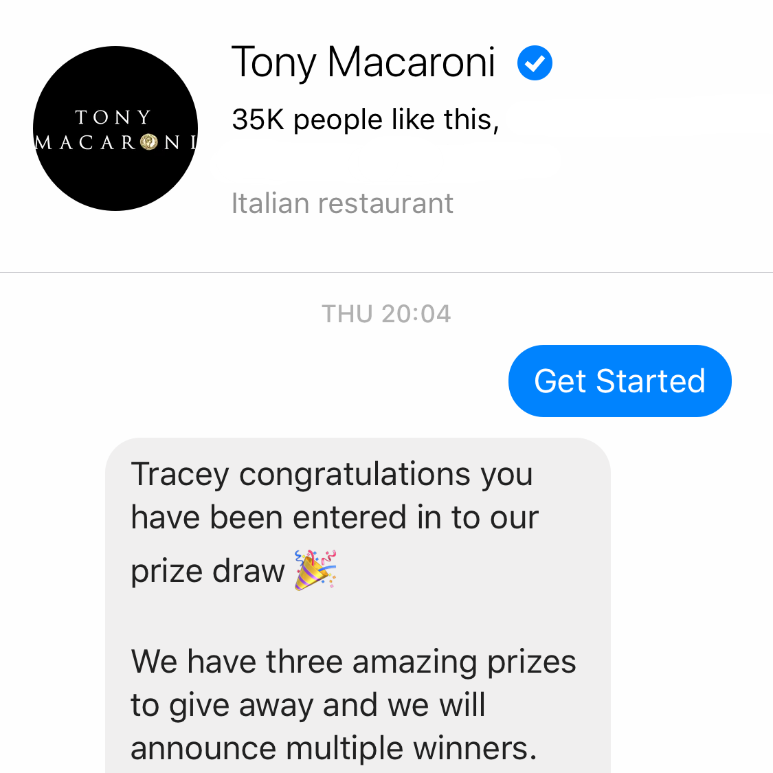 An example of Tony Macaroni's Chatbot on Facebook.