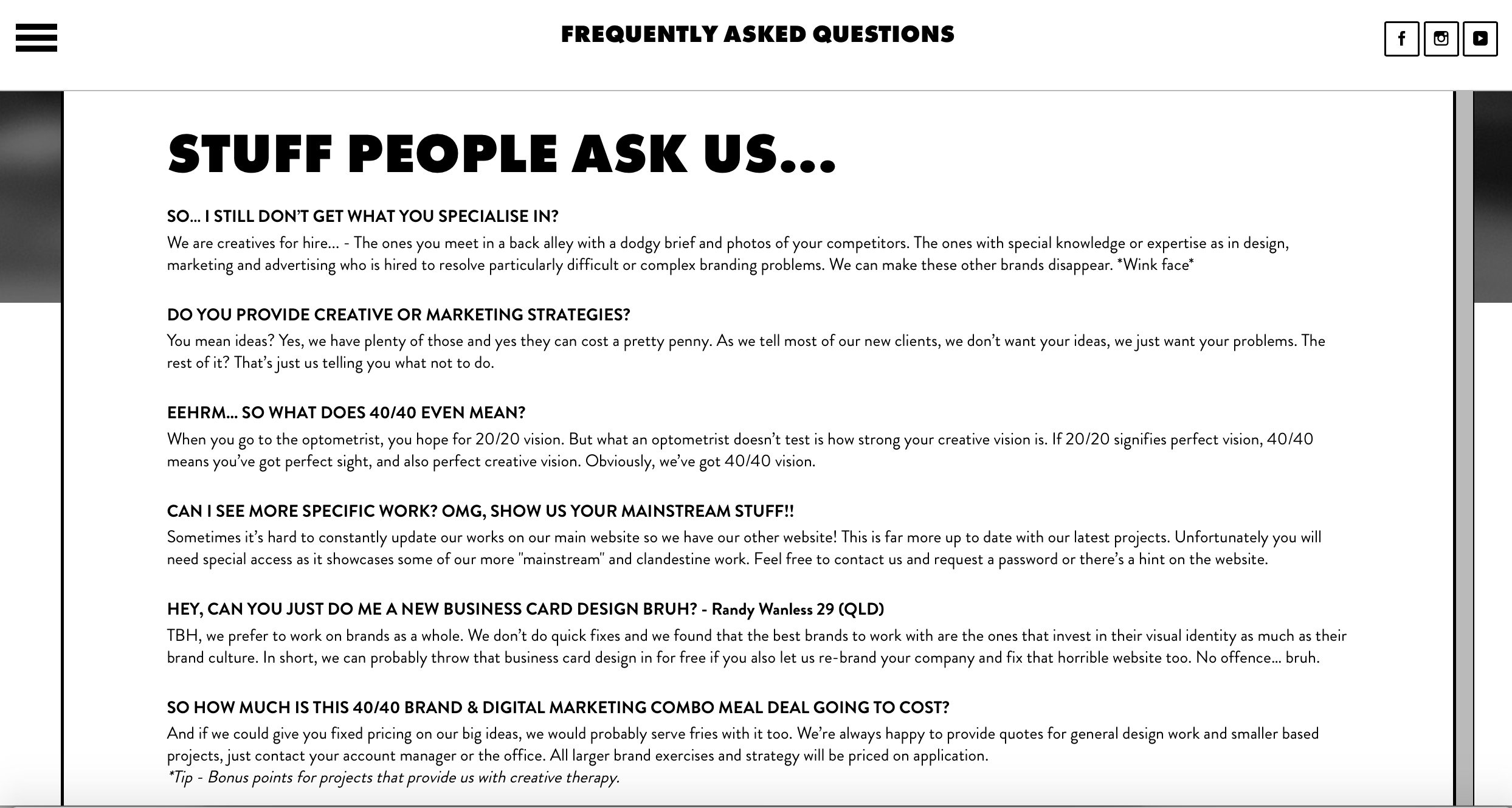 Australian Creative Agency 40/40 Creative's awesome FAQ Page.