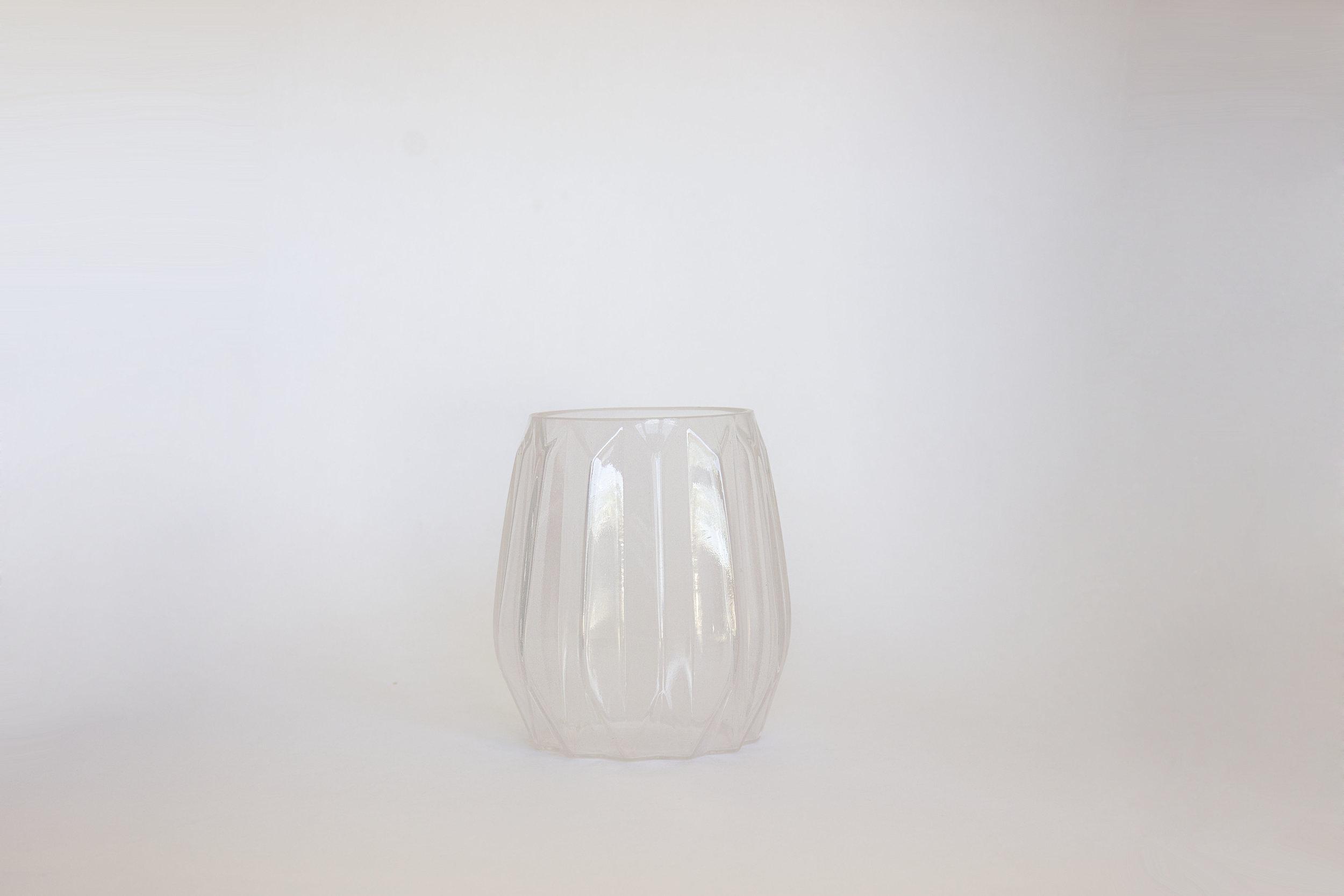 PINK FACETED GLASS VASE