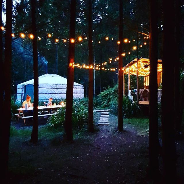 Last weekend, yurts by night. Thank you @abidavison for sharing this lovely photo. #glamping #fairylights #yurts #luxury #camping #somethingdifferent