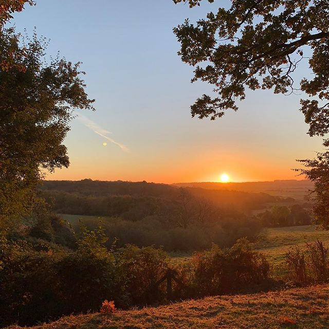 Sunrise this morning from #barefootyurts Thank you Simon for sharing this lovely photo. #sunrise #yurts #glamping #camping #autumn #greatview #sussex #rye