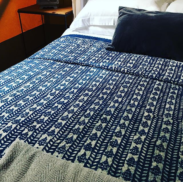Beautiful block print bed cover specially ordered from Jaipur, India for #barefootinthewoods#barefootyurts#yurts#glamping#privatelocation #goodvibes