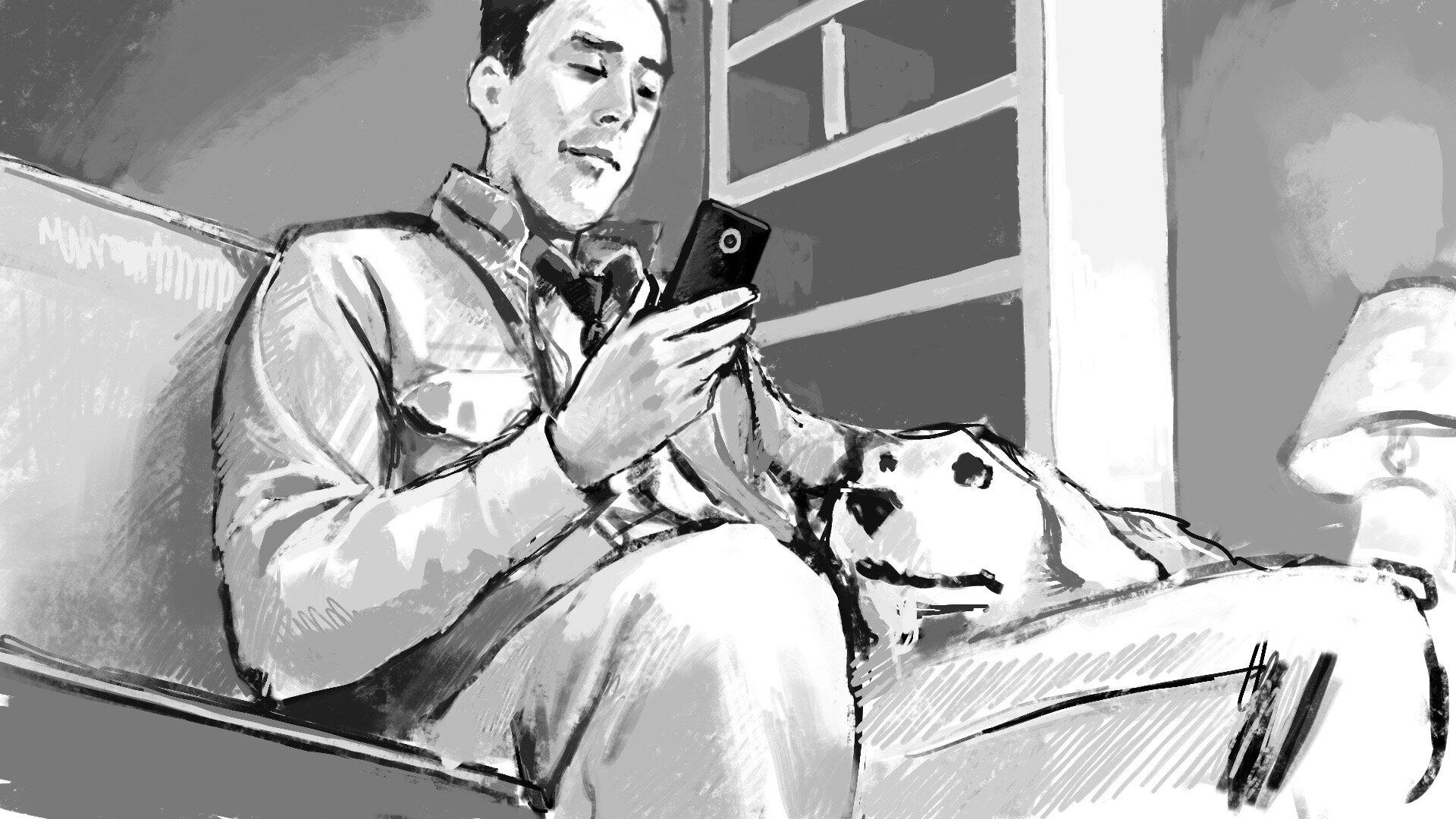 sofa and dog