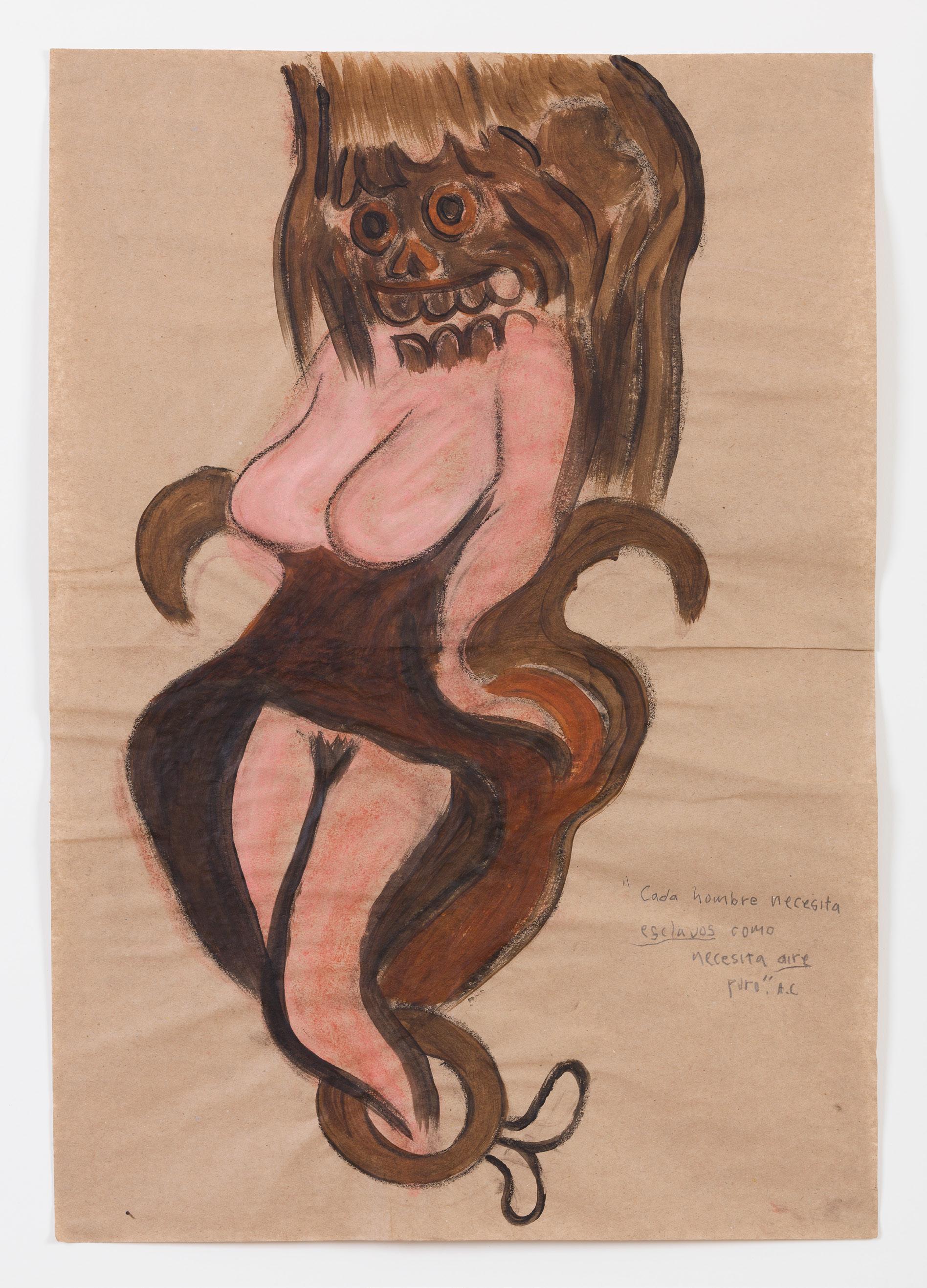 """DANIEL GUZMAN (1964), Sin título. De la serie: """"Chromosome Damage"""", 2013, grafito, pastel y acrílico sobre papel, 64 x 44 , cortesía del artista y kurimanzutto, Ciudad de México, 2014."""