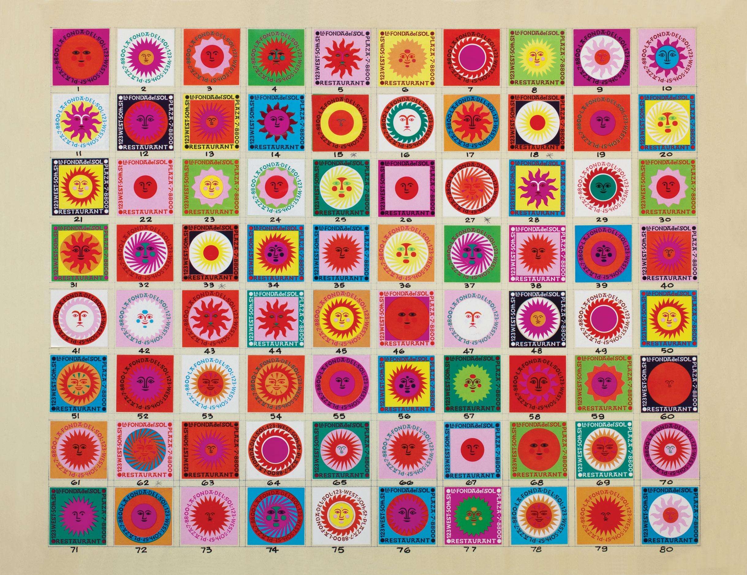 Diseño de cajas de cerillas del restaurante La Fonda del Sol, Alexander Girard, 1960. Cortesía del patrimonio de Alexander Girard y de Vitra Design Museum, Alemania.