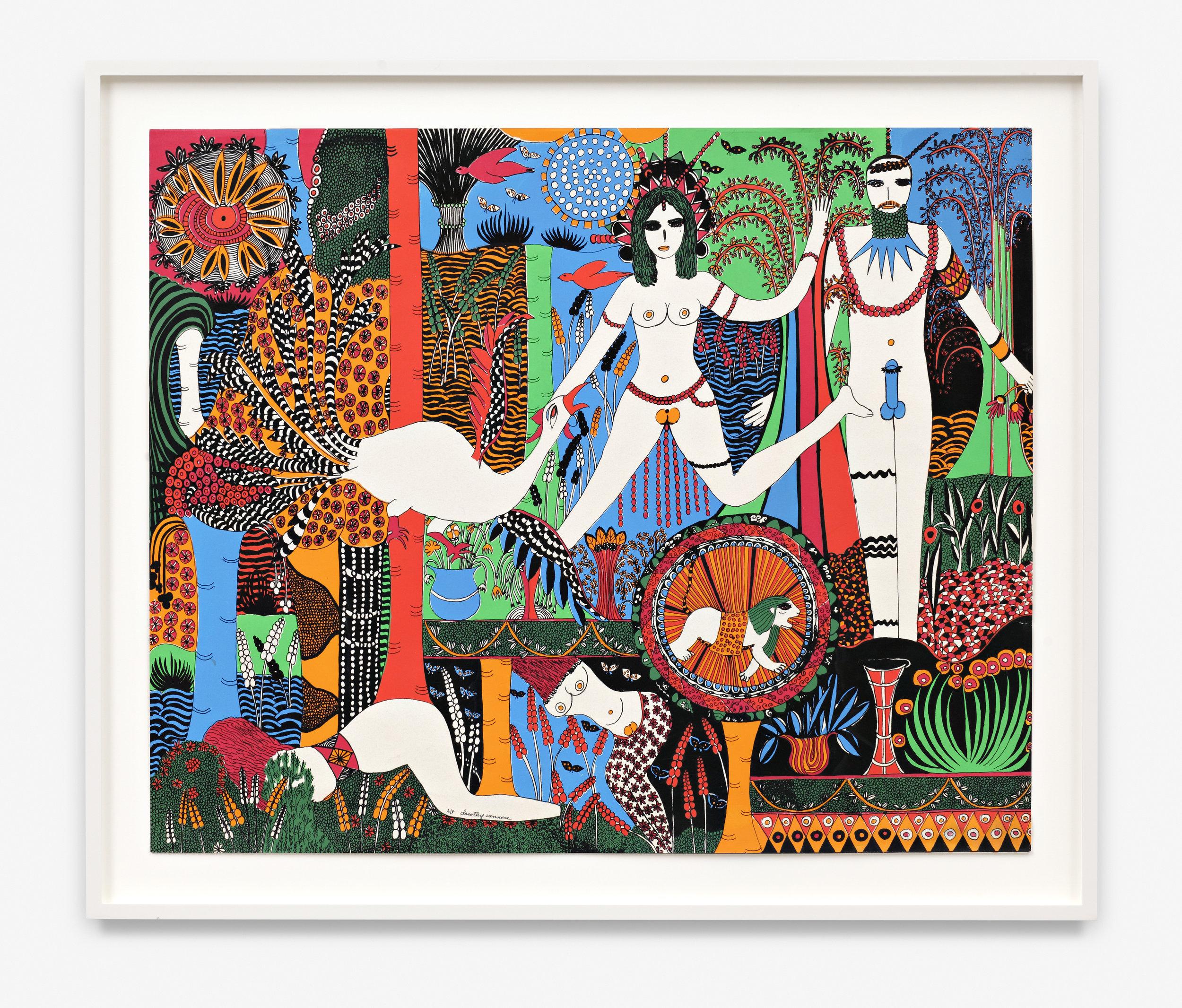 DOROTHY IANNONE  (1933)  Flora and Fauna , 1973, serigrafía a color sobre papel, 59,5 x 72,5, cortesía Peres Projects, Berlín.