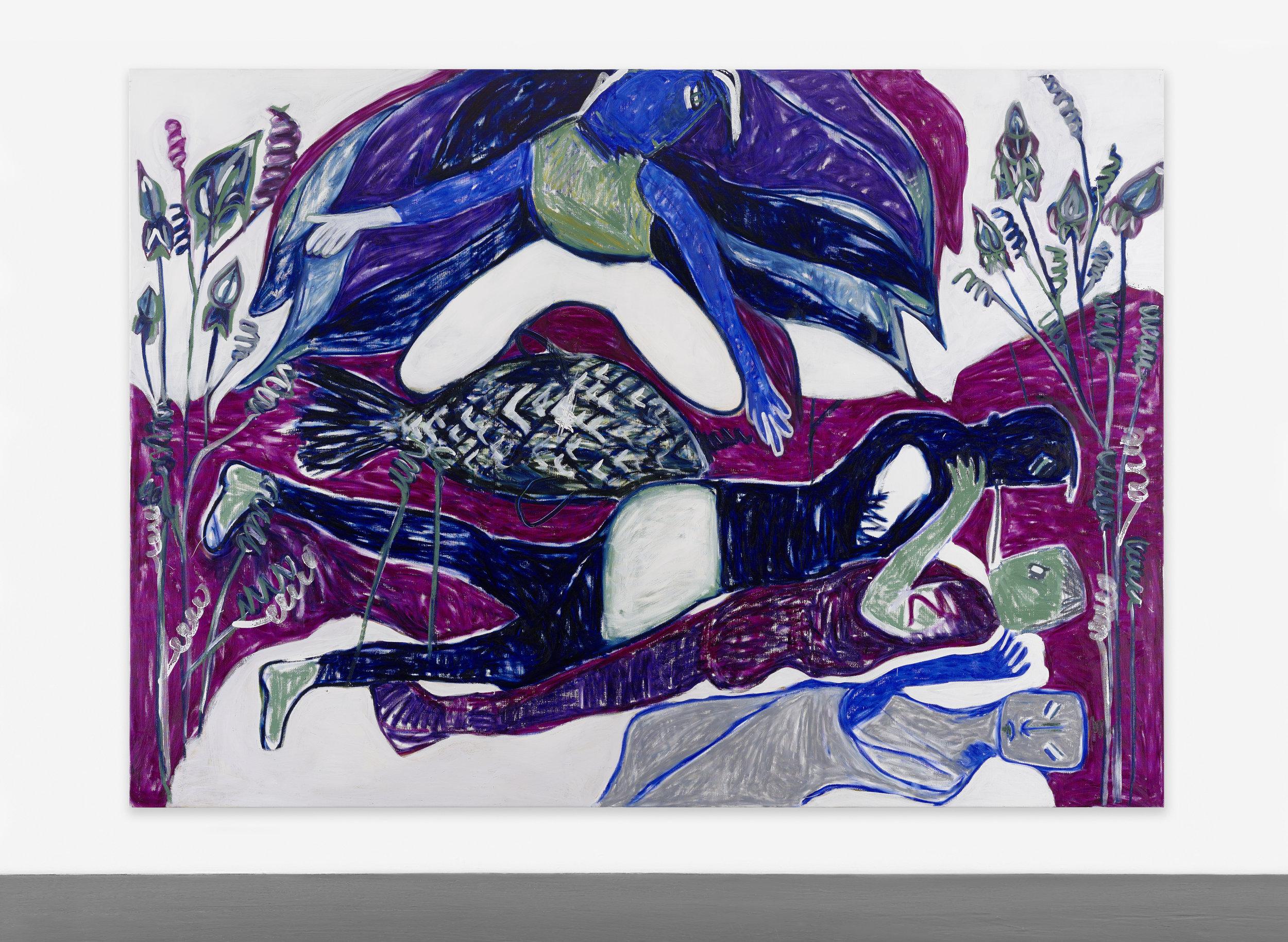 MELIKE KARA  (1985)  The Vegetable Lamb,  2015, acrílico y crayón de óleo sobre lienzo, 200 x 280, cortesía Peres Projects, Berlín.
