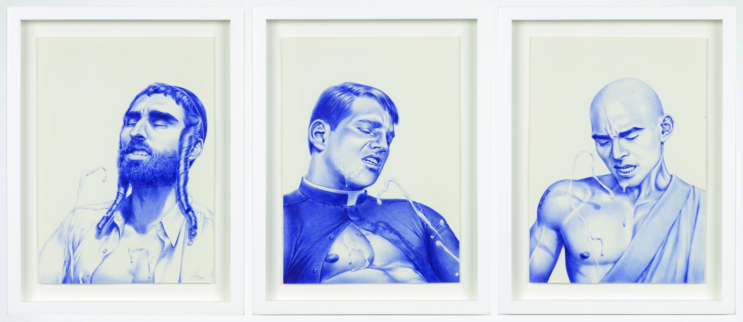 CARY KWOK  (1975)Cum to Father, Muscle Toss, Buddjism, 2010, tinta sobre papel,cada pieza 29.7 x 21,cortesía de Herald St, Londres.