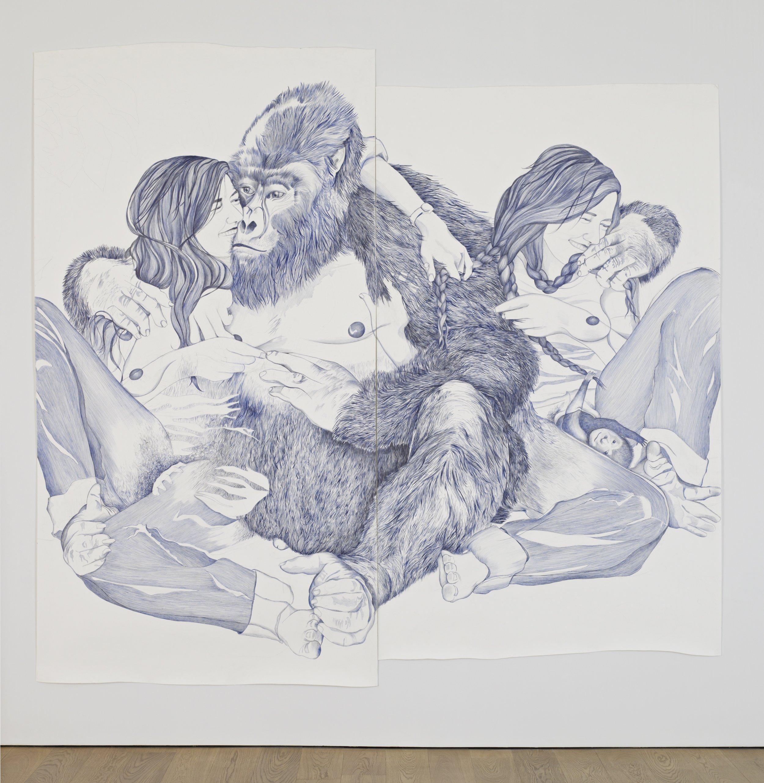 MARLENE MCCARTY  (1957) GROUP 8 (Karisoke, The Virungas, Rwanda. September 24, 1967. 4:30pm.), 2006, bolígrafo y grafito sobre papel,285.8 x 304.8,© Marlene McCarty, cortesía de Sikkema Jenkins & Co., New York.
