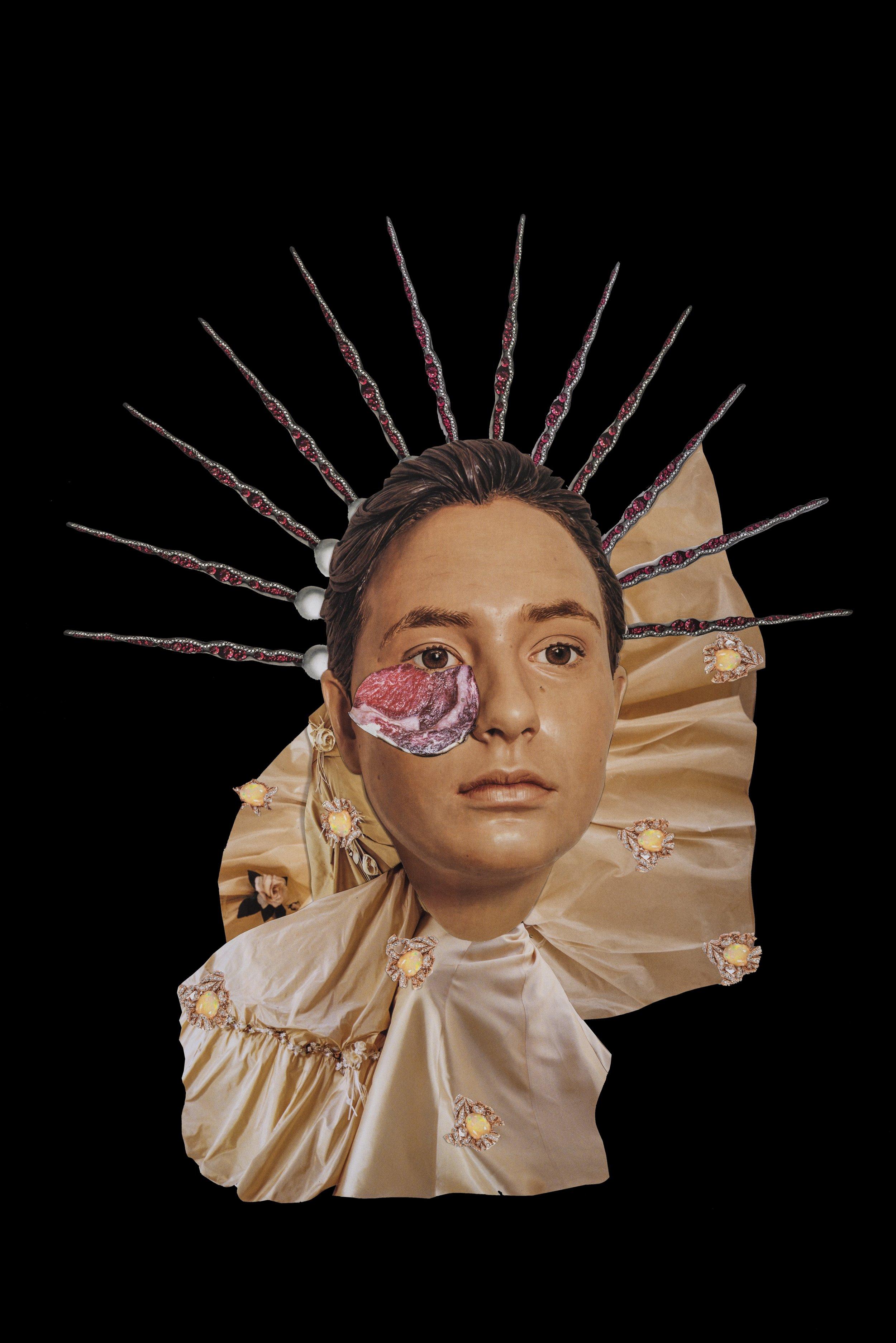 Sin título, 2017, collage, 48x 38. Imágenes de revistas y catálogos de historia del arte, moda y medicina. Catálogo de joyería Dior (Referencia jewellery_JPLM93001) Catálogo de joyería Paola Van Der Hulst (Referencia Ruby-Pearl-Earring PVDH)