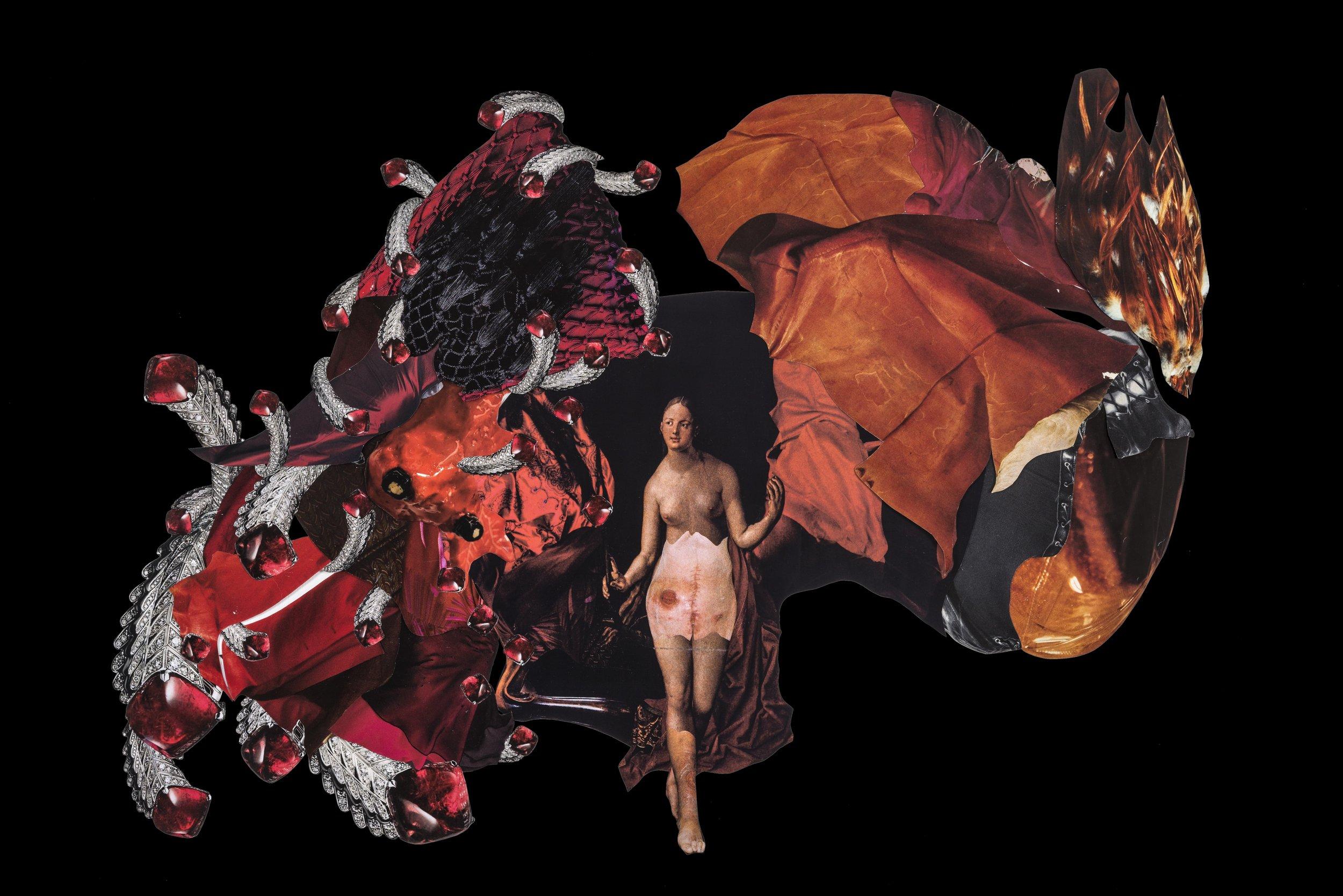 Sin título, 2017, collage, 40 x57. Imágenes de revistas y catálogos de historia del arte, moda y medicina. Catálogo de joyería Dior (Referencia jewellery_JPLM93001) Catálogo de joyería Paola Van der Hulst (Referencia Ruby-Pearl Earring PVDH)