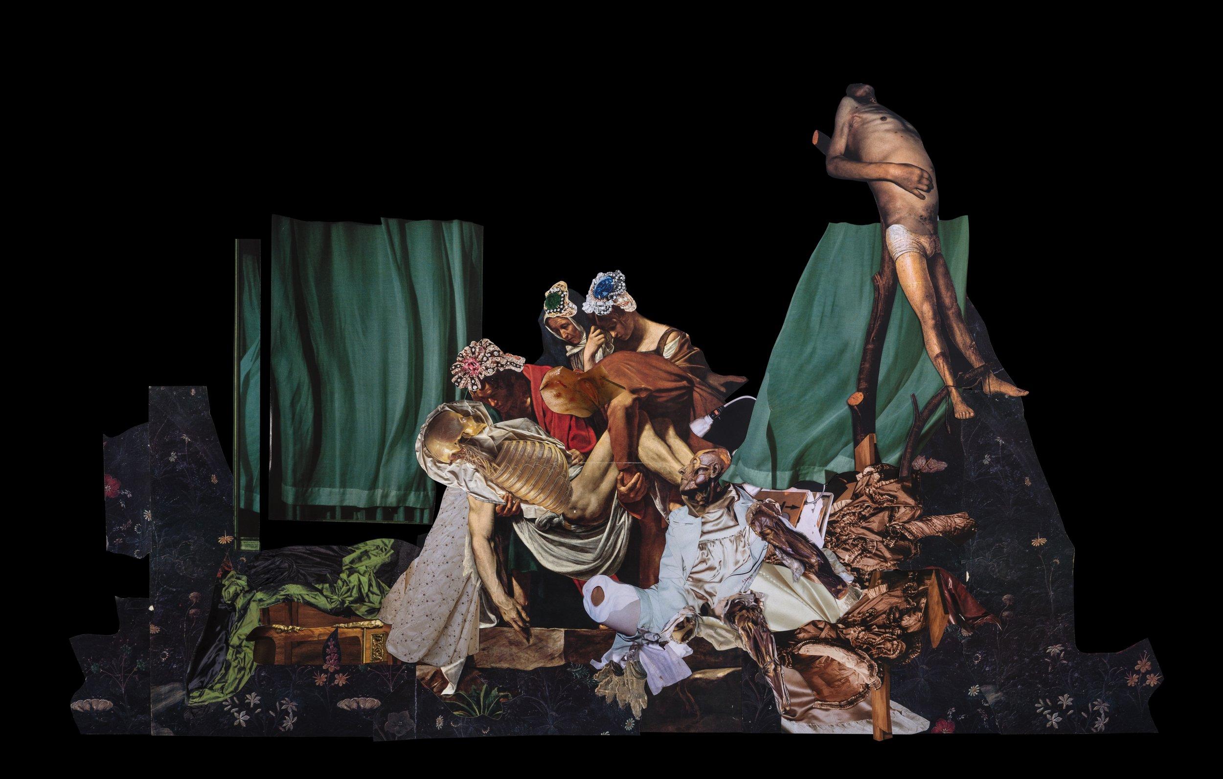 Sin título, 2017, collage  58 x 98. Imágenes de revistas y catálogos de historia del arte, moda, medicina, y la colección Museo La Specola. Catálogo de joyería Dior (Referencia jewellery_JPLM93001_2, jewellery_JVER93004_2, jewellery JVER3027_1, jewellery_JVER93027_2)