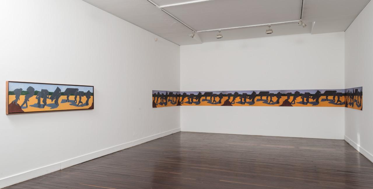 BEATRIZ GONZÁLEZ  (1938),  Zulia, Zulia, Zulia,  2015, óleo sobre tela, 205 x 50 x 0,3, cortesía de Casas Riegner. Fotografía de Óscar Monsalve.