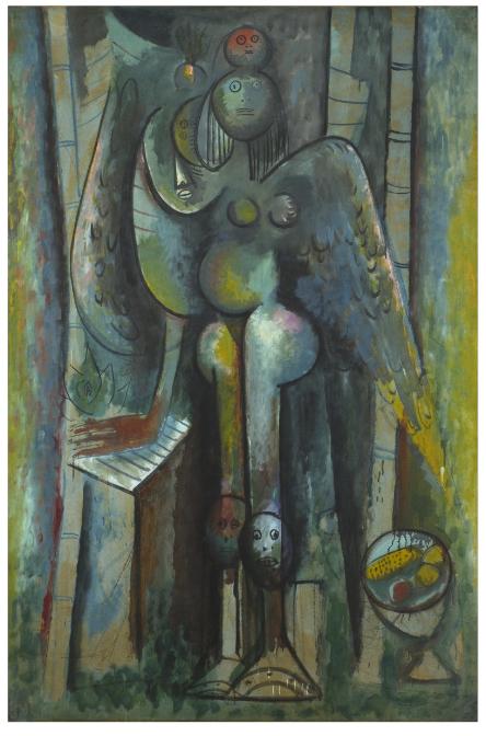 WIFREDO LAM  (1902),  La mañana verde,  1943, óleo sobre papel, 186,5 x 124, colección MALBA (Museo de Arte Latinoamericano de Buenos Aires)