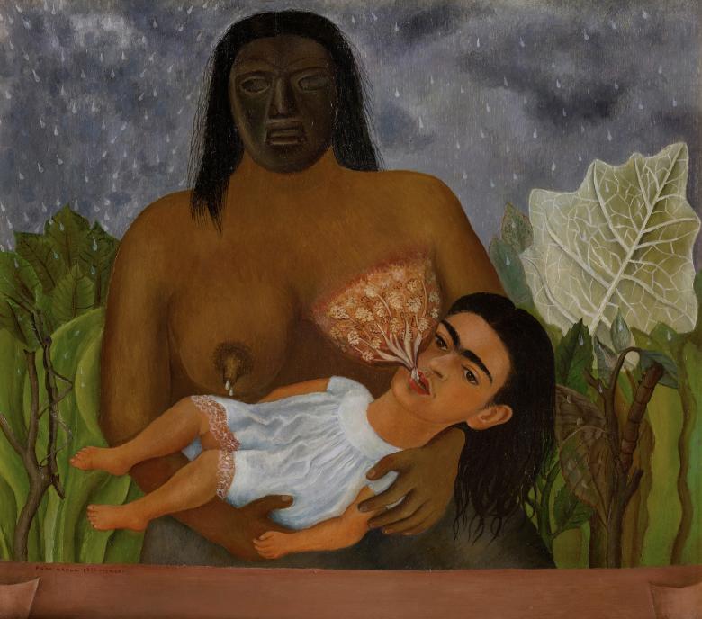 FRIDA KAHLO,  (1907)  Mi nana y yo,  1937, óleo sobre lámina, 30,5 x 35, colección Museo Dolores Olmedo, Xochimilco, México.