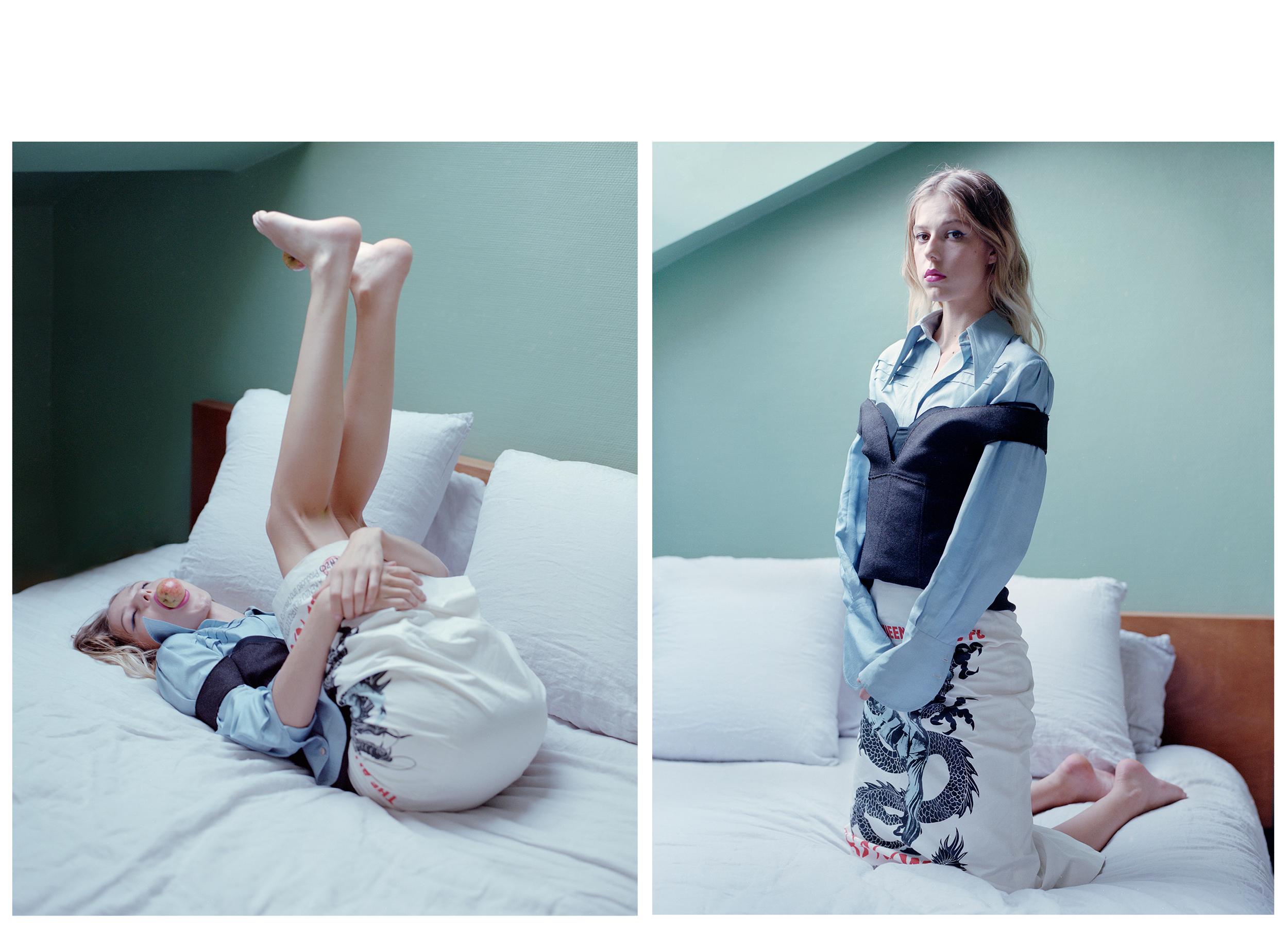 Top y falda de  KENZO  y camisa de  GUCCI .