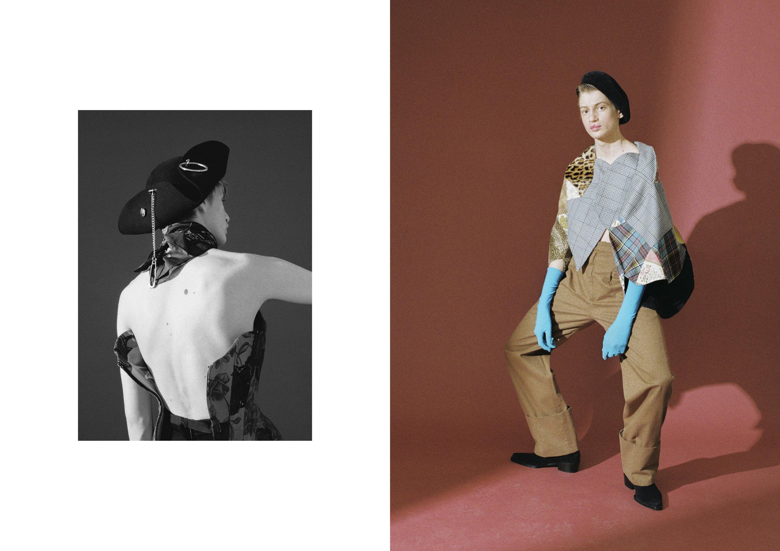 Izquierda: sombrero de  PARDO HATS  y corsé de  CHRISTIAN LACROIX .  Derecha: chaqueta de  JUNYA WATANABE  para  COMME DES GARÇONS , pantalón de  CARLOTA BARRERA,  sombrero de  OBACH  y botas de  CALVIN KLEIN .