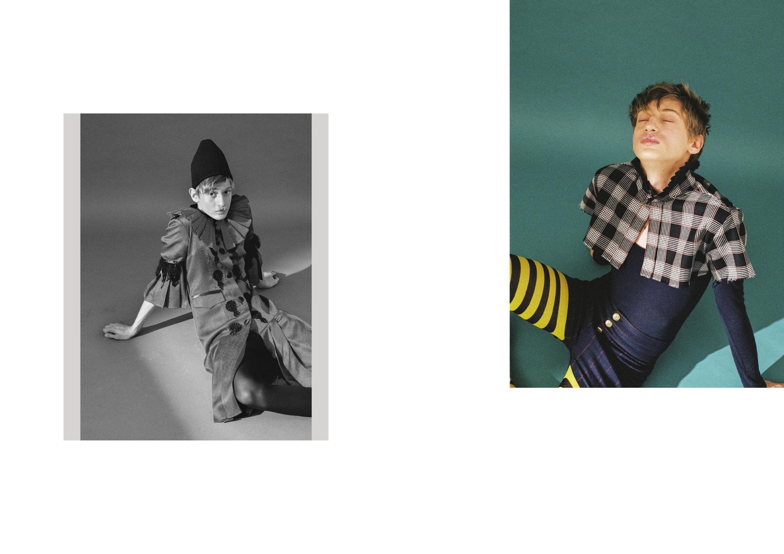 Izquierda: abrigo de  ANDRÉS ZURRU , sombrero de  PARDO HATS  y zapatos de  CALVIN KLEIN .  Derecha: chaleco y pantalón corto de  LORENZO MARTINEZ , top de  CARLOTA BARRERA  y calcetas de  ROOM 89 .