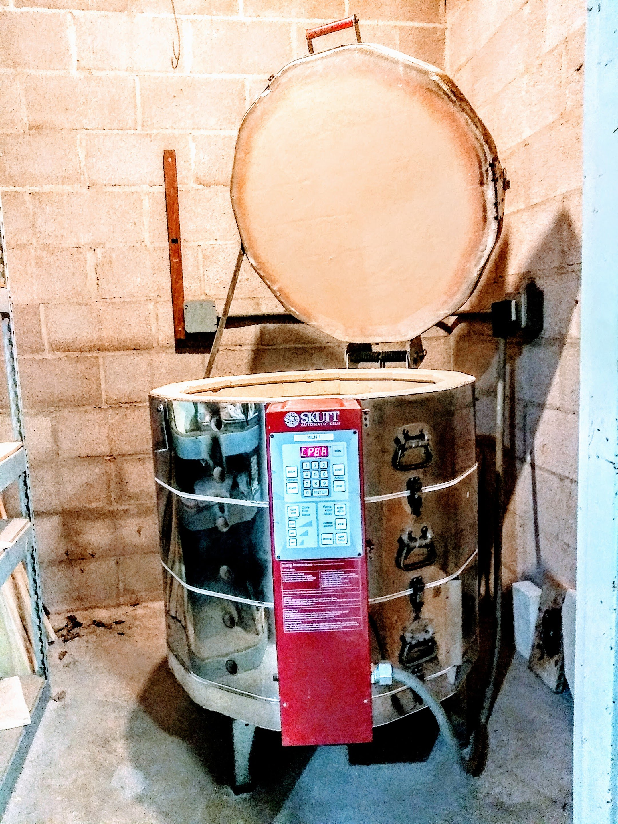 Ceramics kiln at the art center for firing bisque and glazed pottery.  Little Clay Studio, Austin, Texas.
