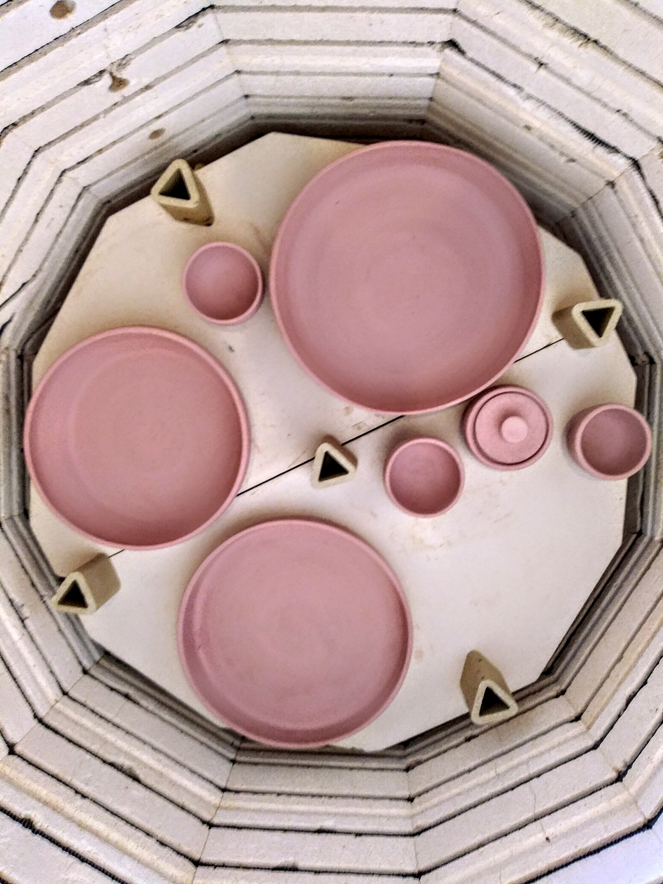 Pottery Wheel Thrown Ceramics made by Little Clay Studio in Austin, Texas Bisque Fired in the Kiln. Large bowls and oversized ceramic plates for serving at parties and at home.