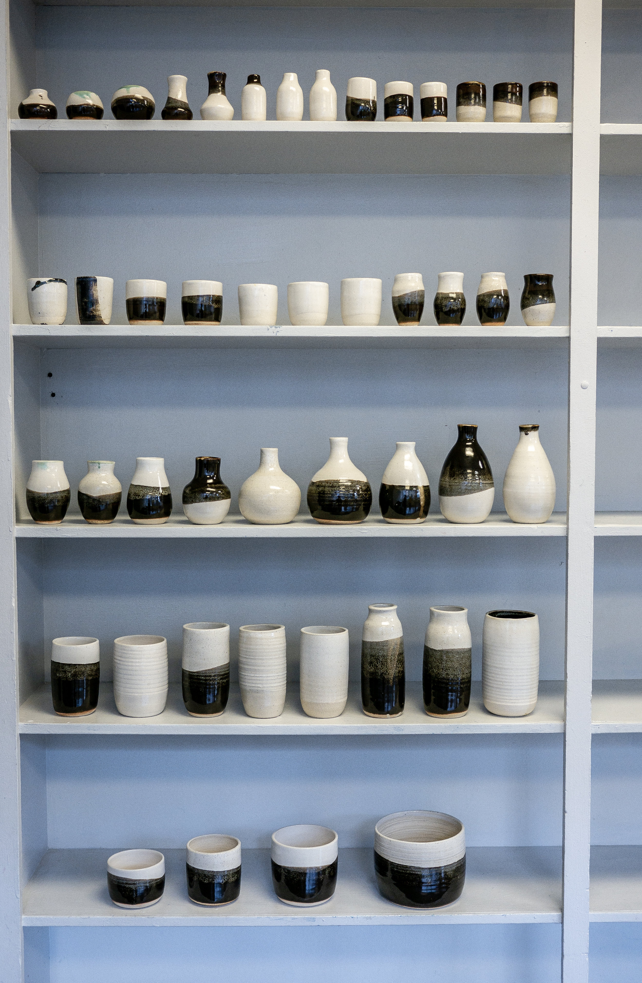 BLACK AND WHITE VASE COLLECTION MADE ON THE POTTERY WHEEL BY PLANT AND VESSEL