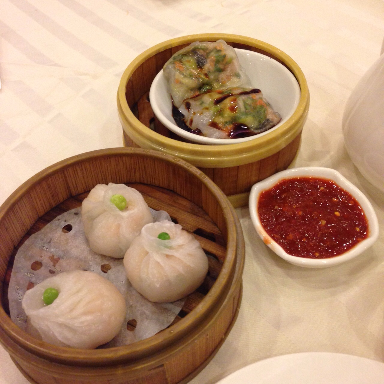 Alguns dos Dim Sum que eu experimentei naquele dia. Até hoje não sei do que eram, mas estavam deliciosos! :)