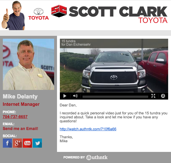 Immediately grab the attention of your leads with  personalized  vehicle walk around videos made exclusively for them! Let your sales staff's personality come through and differentiate your dealership from the competition.