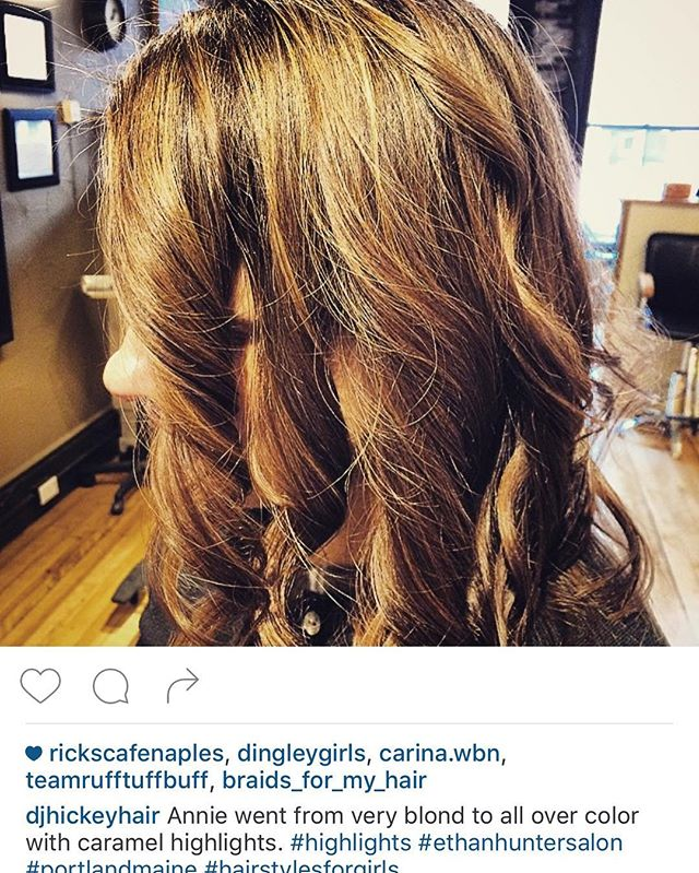 D.J took this girl from washed out highlights to a nice caramel highlight. Great transformation