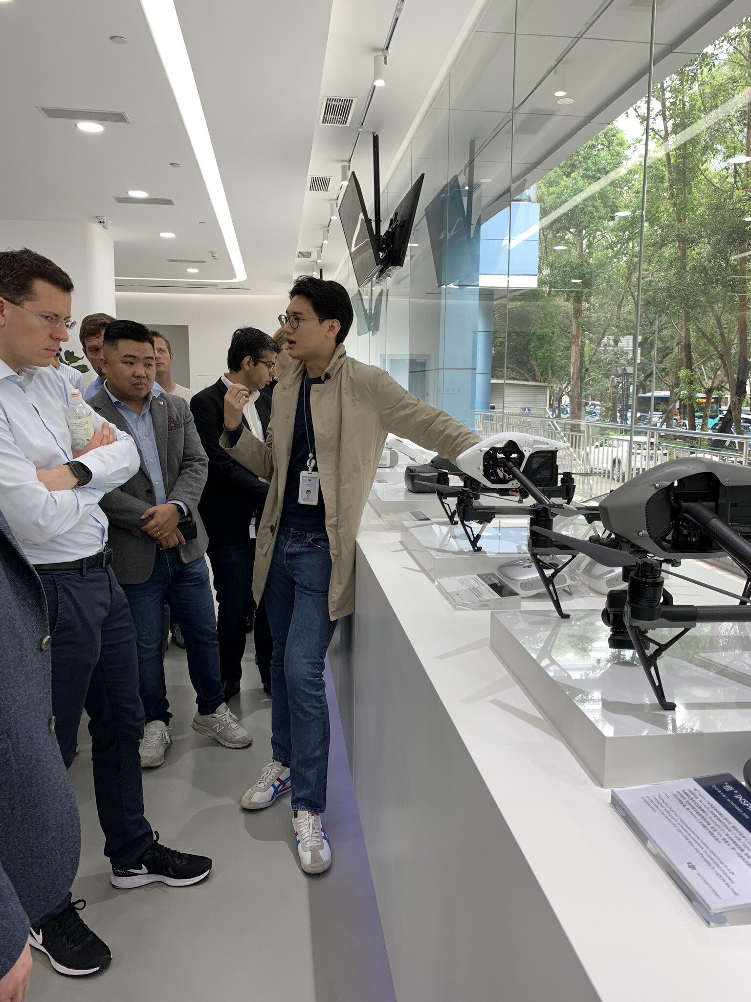 At DJI's HQ showroom. Pictured are the Inspire (non-consumer) drones.