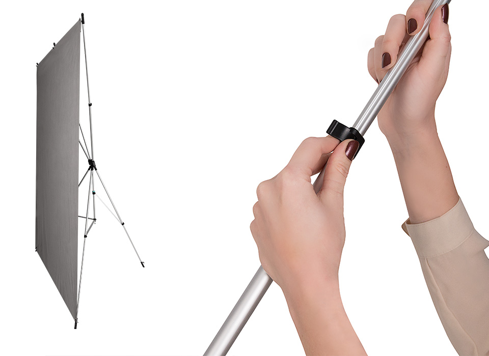 Instant Setup - The X-Drop's telescopic frame expands to 5' x 7' and locks into place. Backdrops attach to the X-Drop's hooks via built-in grommets. And you're finished! Complete backdrop setup in just seconds.