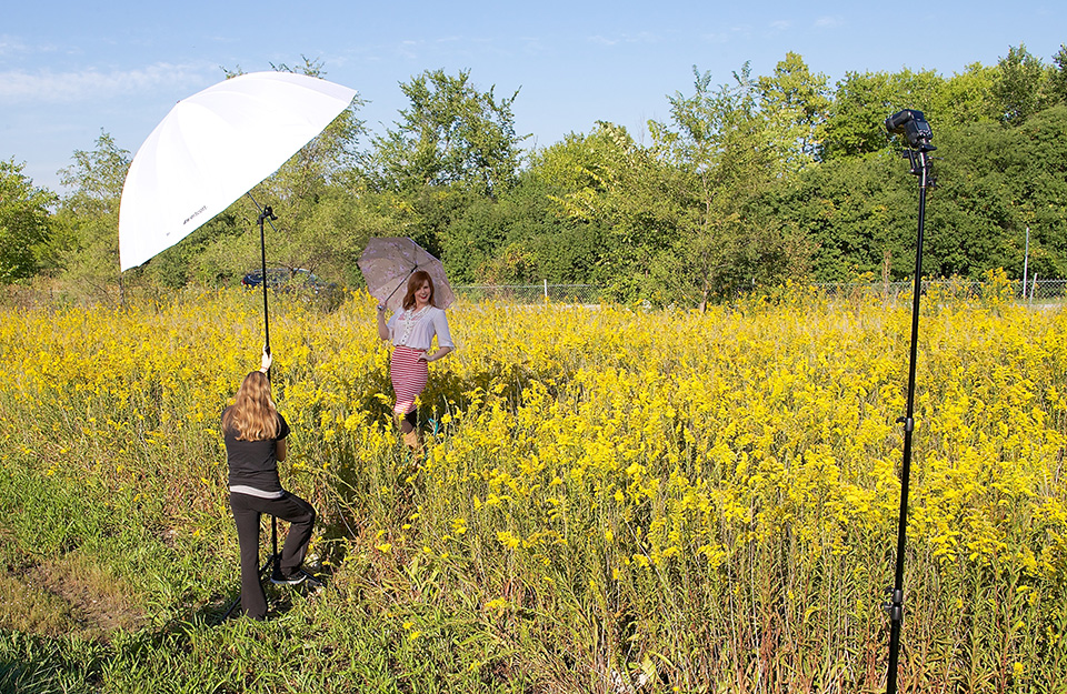 Take Control of Harsh Sunlight  - Shooting on-location under bright sunlight? Westcott 7' Umbrellas can modify any light source, including the sun. Mount a diffusion 7' umbrella overhead to soften midday sunshine. Or mount a reflective 7' umbrella overhead to block sunlight completely.