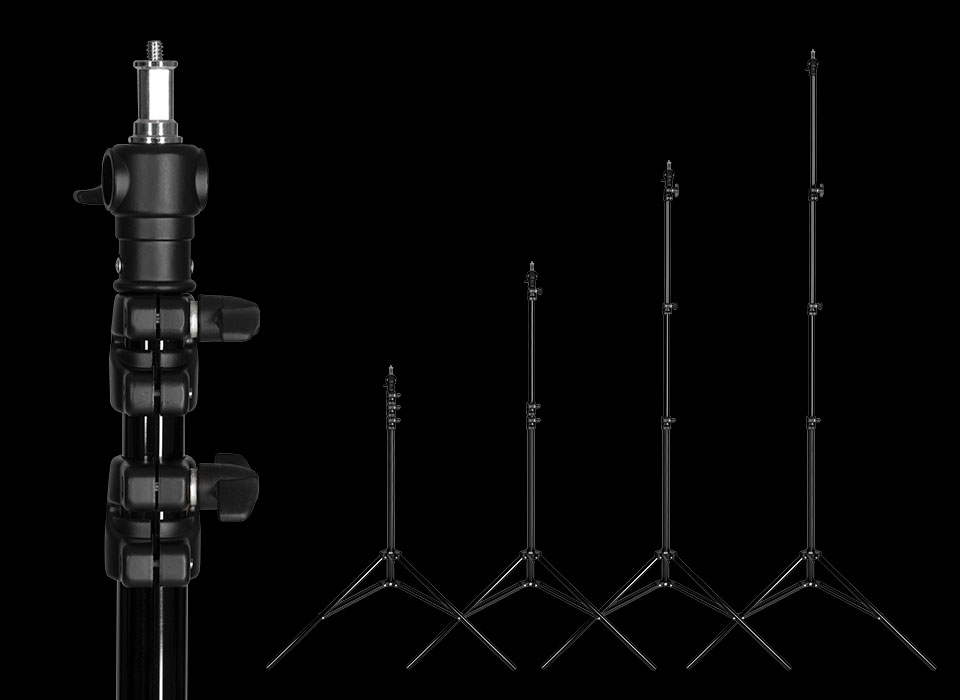 Secure Light Placement - This trusted light stand incorporates a durable design and tall telescoping tubing for classic light mounting in your studio or on location. It is constructed of thick aluminum tubing with a black finish to prevent reflections. Knobs allow for mounting height to be adjusted up to 10'. Double support rails and durable collars are included to provide additional strength.