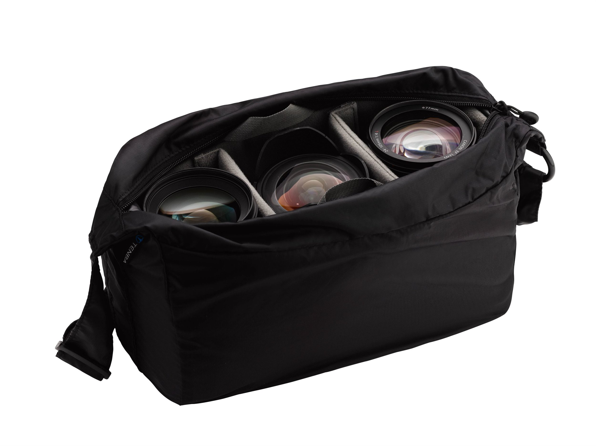 REMOVABLE PADDED CAMERA INSERT - Allows a camera and 2-3 lenses to be carried independently inside any bag of your choosing. Insert can be paired with Tenba's Packlite 10 travel bag (636-228) to create a portable camera bag solution.