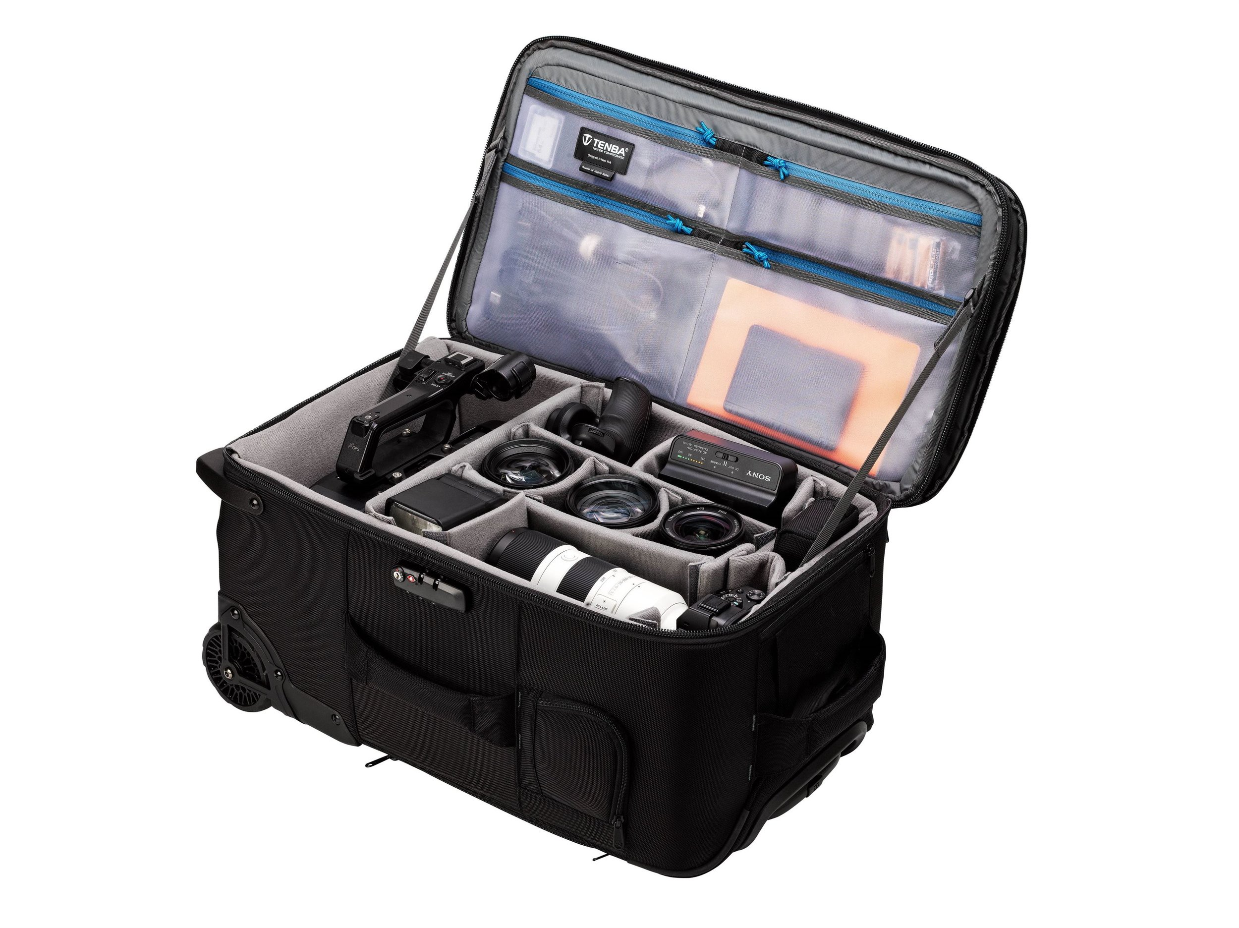 A COMPLETE ROLLING STUDIO - Due to its larger-than-carry-on dimensions, the Roadie Roller 24 can efficiently carry large systems in a single case. Cameras and lenses can be stored along with flash and lighting systems. 70-200mm 2.8 lenses will fit standing vertically to maximize interior storage. This is an all-in-one case for location shoots.