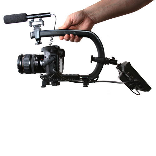 Use The Weight Of Your Camera To Stabilize Your Shot - The Patented design displaces the weight of your gear by separating your hand from directly holding the camera body. When holding the Scorpion and not the camera, motion and movement is naturally dampened. The Scorpion can facilitate moves that look like a professional camera stabilizer or Jib arm.