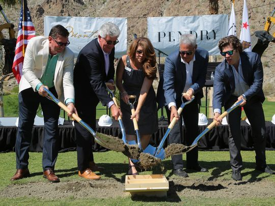 La Quinta Mayor Linda Evans breaks ground with Montage International and Pendry Hotels developers for La Quinta's Silverrock Resort development project, Monday, May 1, 2017. (Photo: Zoe Meyers/The Desert Sun