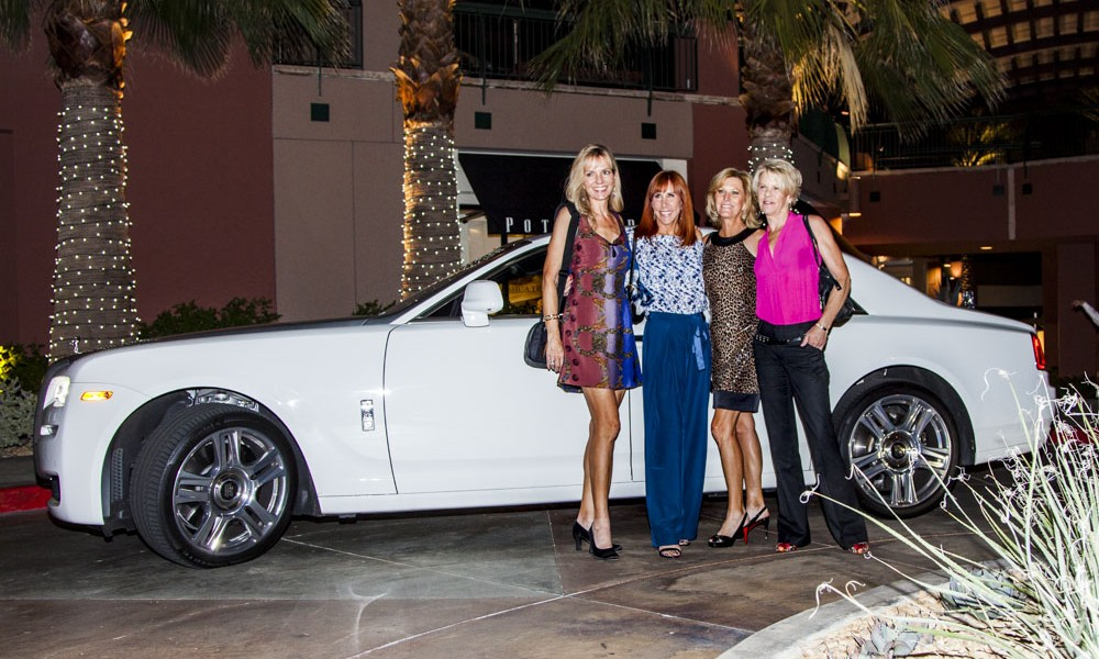Sheri Dettman and girlfriends with the Rolls Royce that Sheri drove.