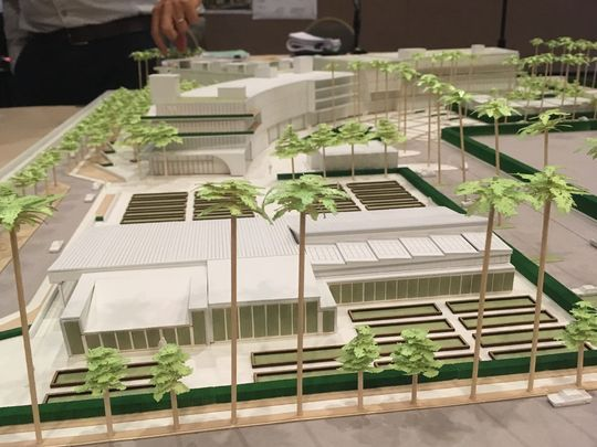 """A model of the proposed 171-room Dream Hotel in Palm Springs. In the foreground are raised planting areas and a """"farmhouse"""" to serve as a special event space and greenhouse.(Photo: Skip Descant/ The Desert Sun)"""