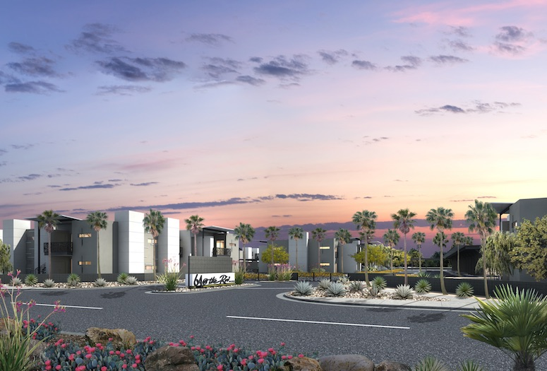The upscale condominium development 64@theRiv is under construction at Indian Canyon Drive and East Via Escuela in North Palm Springs. Phase I of the project, including model homes, is expected to be completed in August.   RENDERINGS COURTESY NDC HOMES, INC.