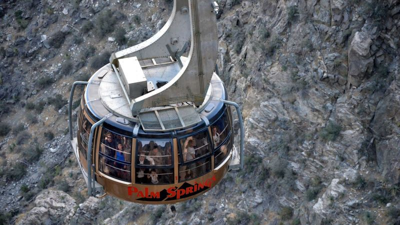 The Palm Springs Aerial Tram climbs in 10 minutes to a mountain station about 8500 feet above the desert floor. (Christopher Reynolds / Los Angeles Times)