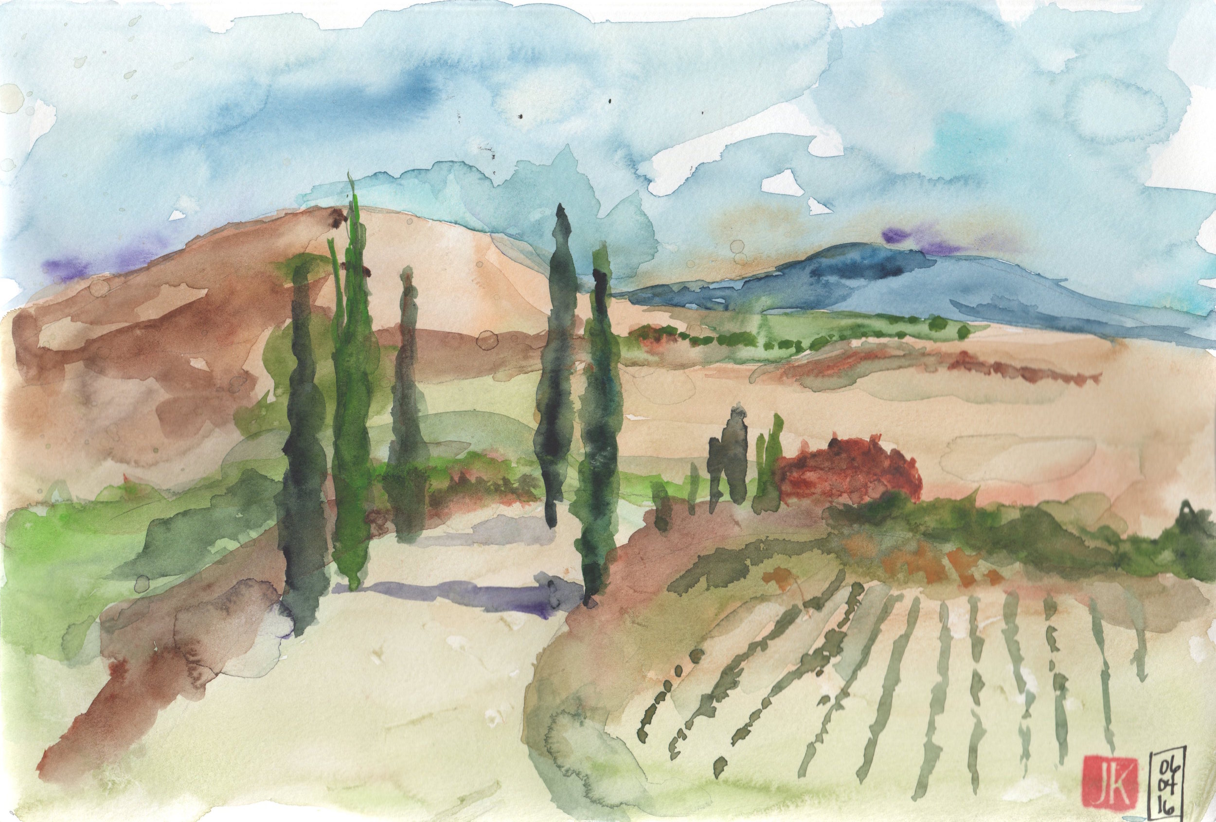 I followed Marc's demonstration using watercolors only