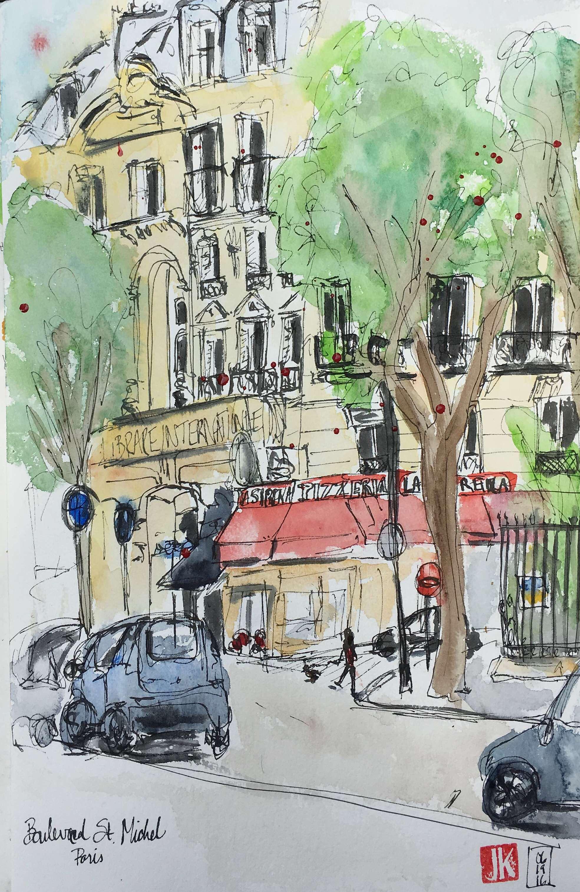 Our last breakfast in Paris on Boulevard Saint Michel